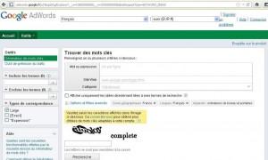 Capture page d'accueil Adwords